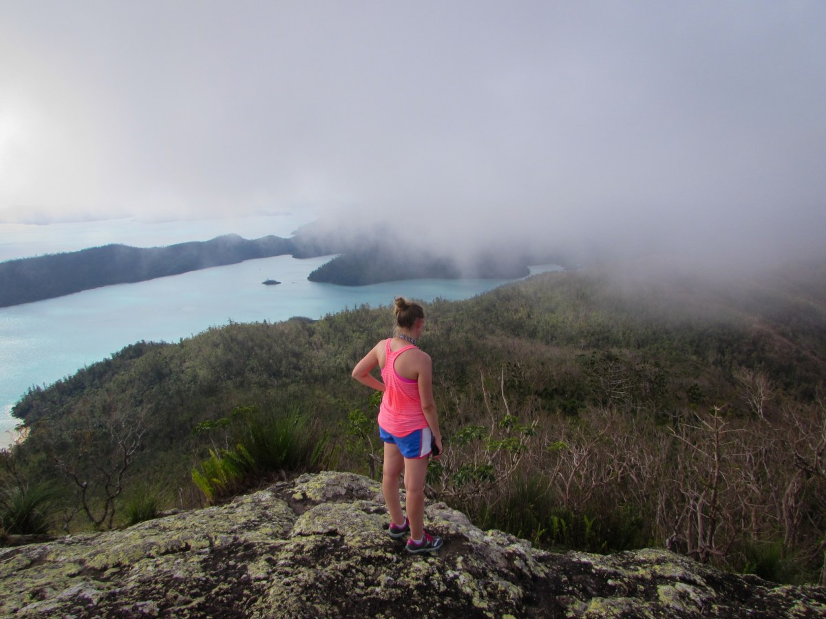 After the brutal hike to the top of Whitsunday island