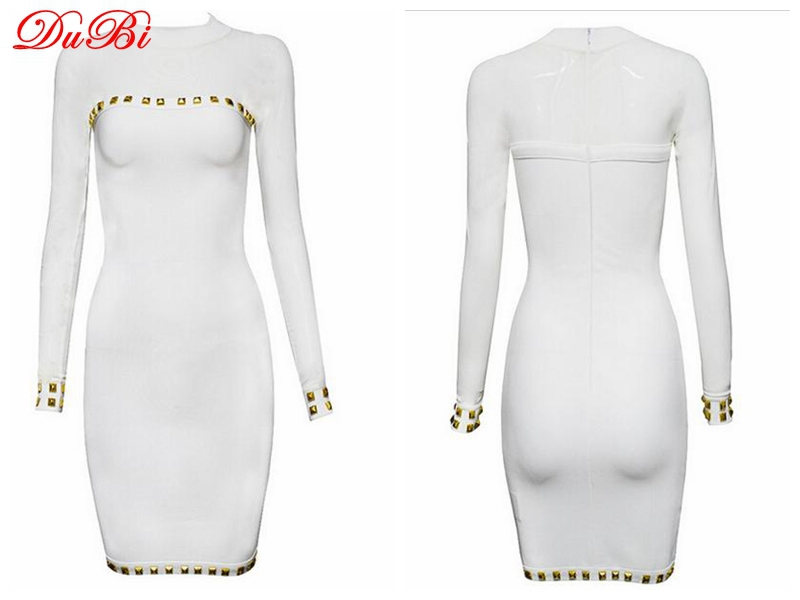 2015 new arrival HL Bandage Dress White Long Sleeve Bandage Dress Party Dress Celebrities Dress