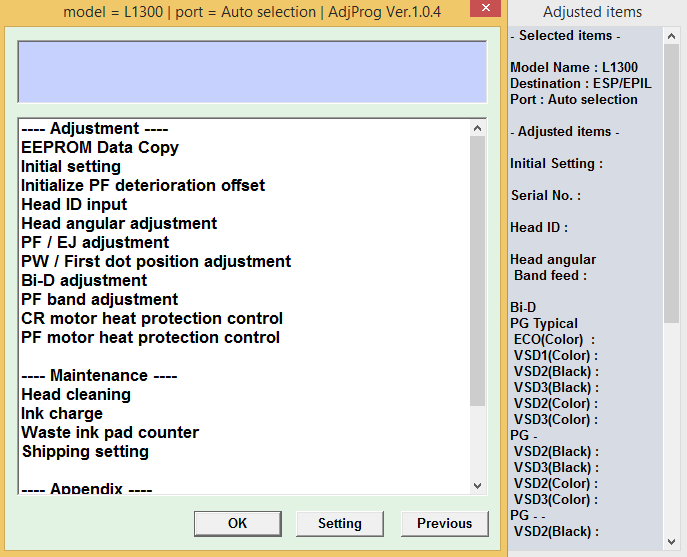 Epson l1300 adjustment program free download