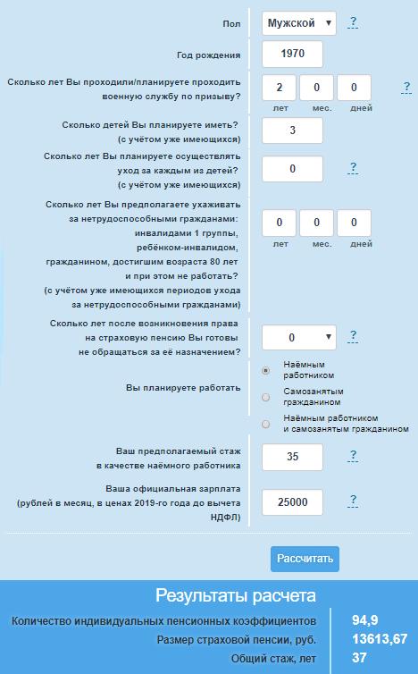 Калькулятор расчета пенсии по старости в 2019 году
