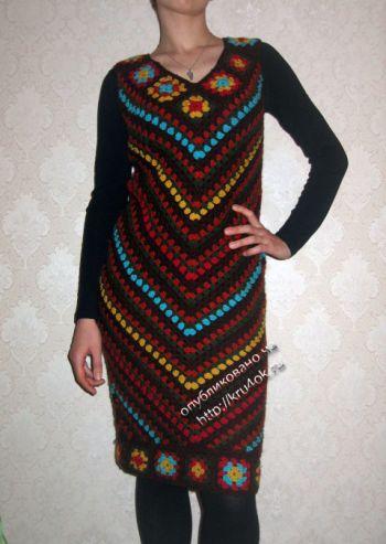 Теплое платье крючком, бохо стиль