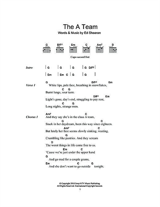 The a team by ed sheeran chords