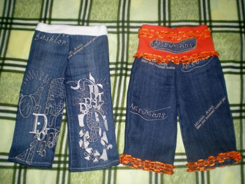 Шьем очаровательные детские штанишки из старых джинсов