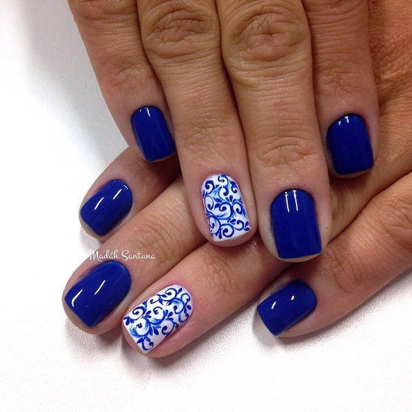 Blue and white nails designs