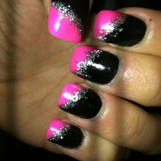Pink and black nails pinterest