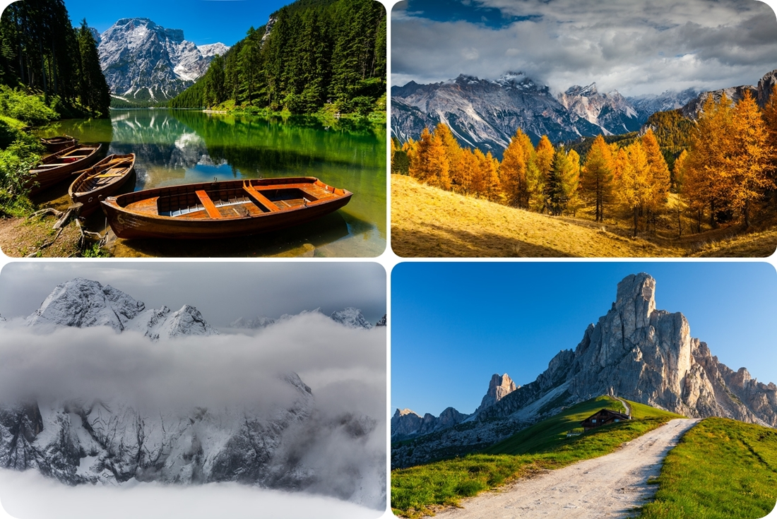 Красота Доломитовых Альп в разные времена года