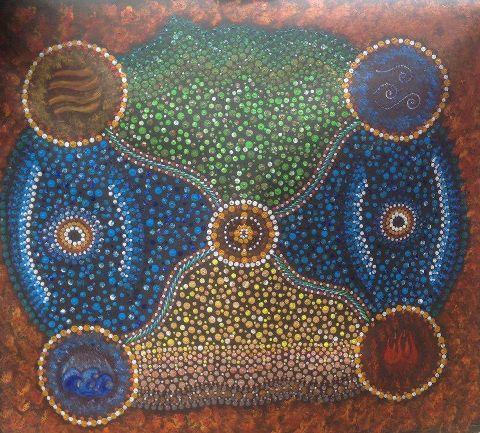 The painting by Aboriginal artist Wallamarra Elliott