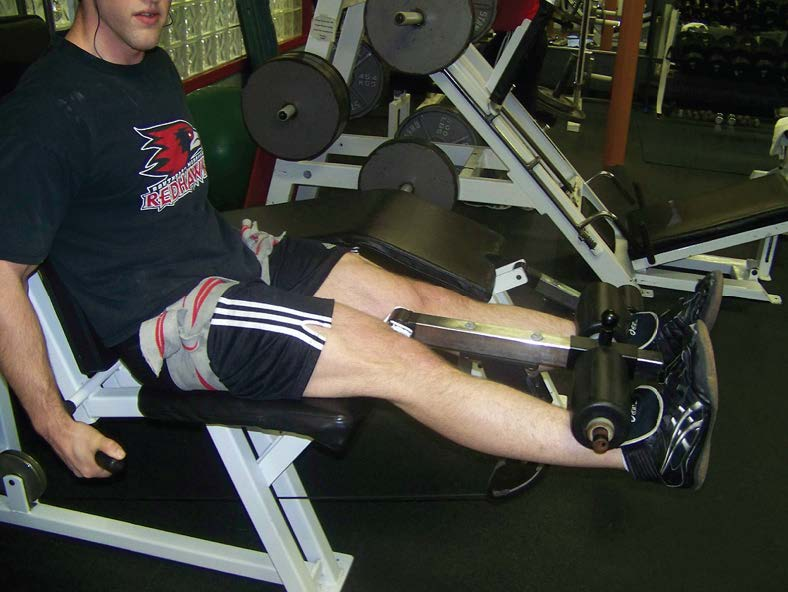 Figure 3: Dr. Jeremy Loenneke showing a knee extension resistance exercise with practical application of knee wraps for BFR training (7).