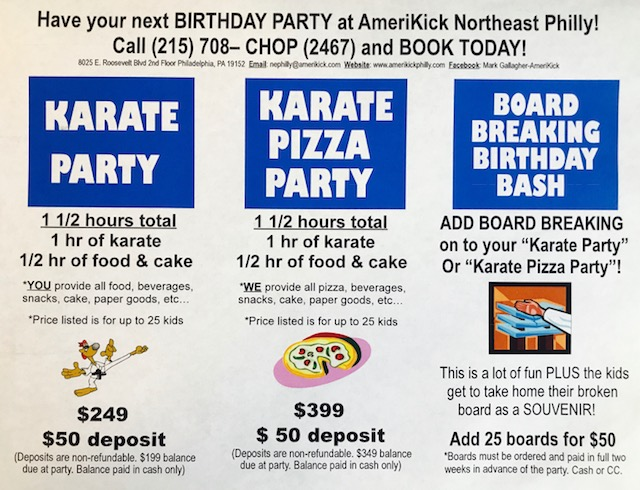 Martial Arts Birthday Parties Philadelphia Pennsylvania
