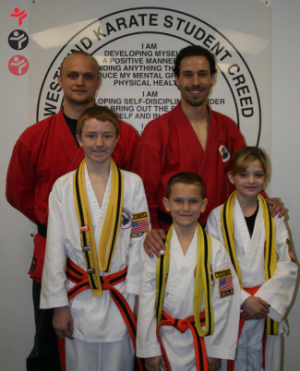students in kids karate at West Wind Karate