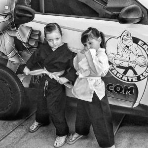 students in kids karate at East West Karate
