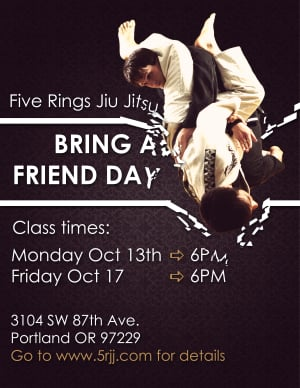 Kids Martial Arts in Portland and Beaverton - Five Rings Jiu Jitsu - Bring A Friend Day Events