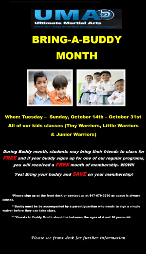 Kids Martial Arts in Chicago - Ultimate Martial Arts - Kids Martial Arts Chicago: Taekwondo Buddy Month