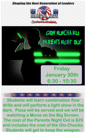 Kids Martial Arts in Plano - USA Martial Arts - Upcoming Glow Chuck Parents Night Out for the McKinney Prosper and Frisco Areas