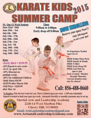 Arts and Leadership Academy Register Online for 2015 Karate Summer Camp