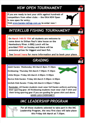 International Martial Arts Centres IMC News 3rd March 2015
