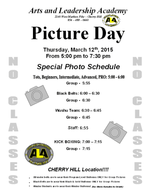 Arts and Leadership Academy CLASS PICTURE DAY - March 12th