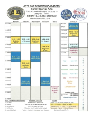 Arts and Leadership Academy New Spring Schedule Begins March 18th 2015