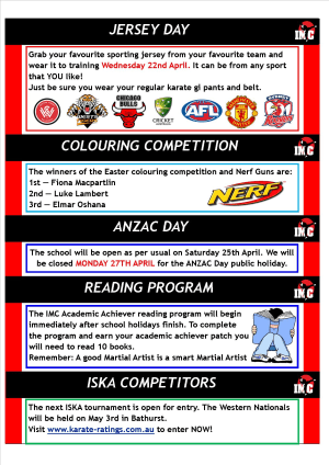 Kids Martial Arts in St Clair, Kemps Creek & Hoxton Park - International Martial Arts Centres - IMC News 7th April 2015
