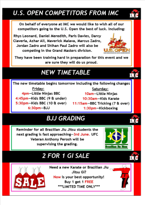 International Martial Arts Centres IMC News 25th June 2015