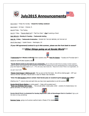 Kids Martial Arts in Kenilworth - Karate World  - August Announcements
