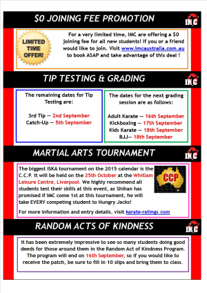 International Martial Arts Centres IMC News 27th August 2015
