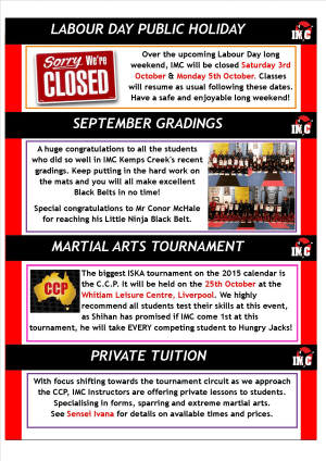 International Martial Arts Centres IMC News 22nd September 2015