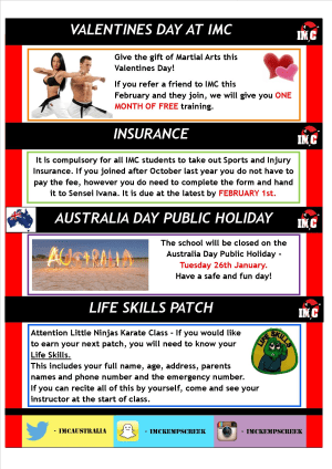 International Martial Arts Centres IMC News 13th January 2016