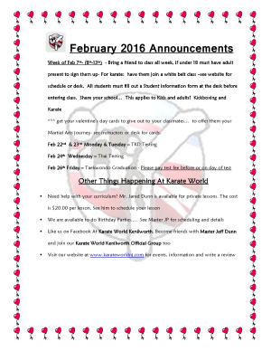 Kids Martial Arts in Kenilworth - Karate World  - February 2016 Announcements