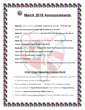 Kids Martial Arts in Kenilworth - Karate World  - What is happening at Karate World in March 2016