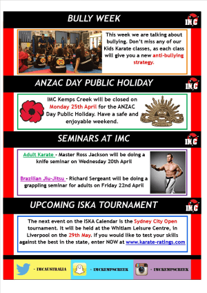 Kids Martial Arts in St Clair, Kemps Creek & Hoxton Park - International Martial Arts Centres - IMC News 20th April 2016