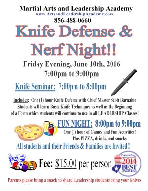 Arts and Leadership Academy Knife Defense Seminar and Nerf Night