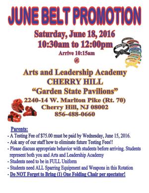 Arts and Leadership Academy June Belt Promotion
