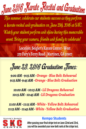 Kids and Teens Karate in Martinez - Seigler's Karate Center - SKC West Fury's Ferry Graduation Times