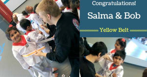 Kids Martial Arts in Naperville - PRO Martial Arts Naperville - Congrats Salma & Bob - Yellow Belt!