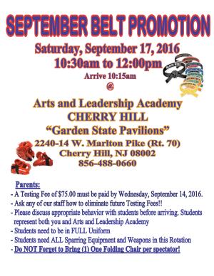 Arts and Leadership Academy SEPTEMBER BELT PROMOTION