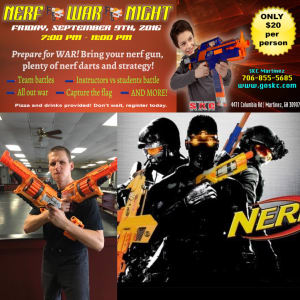 Kids and Teens Karate in Martinez - Seigler's Karate Center - Nerf War Night / September 9th 7:00 pm to 11:00 pm