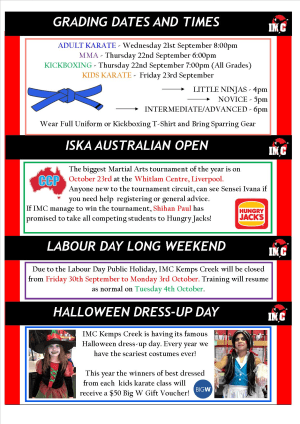 Kids Martial Arts in St Clair, Kemps Creek & Hoxton Park - International Martial Arts Centres - IMC News 21st September 2016