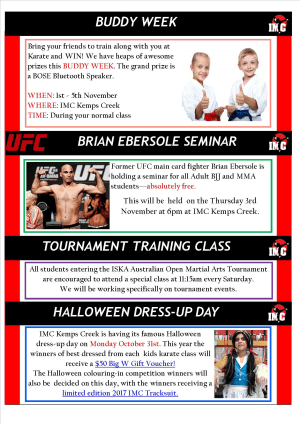 International Martial Arts Centres IMC News 12th October 2016