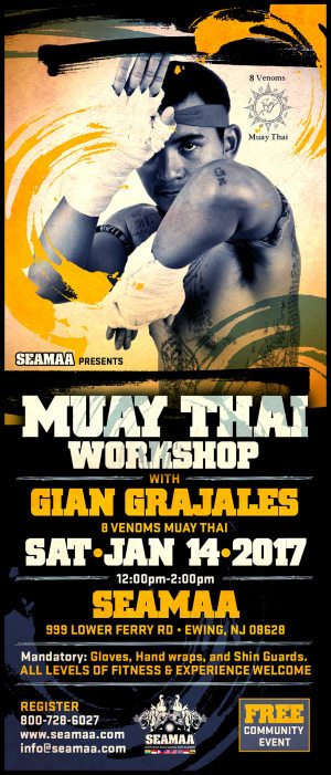 Kids Martial Arts in Ewing - Southeast Asian Martial Arts Academy (SEAMAA) - MUAY THAI WORKSHOP with Gian Grajales (Jan 14, 2017)