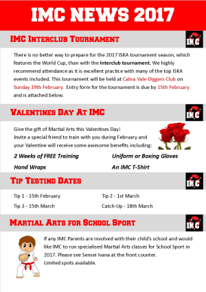 International Martial Arts Centres IMC News 21st January 2017
