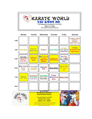 Kids Martial Arts in Kenilworth - Karate World  - Schedule change for Gold/Green Belts starting week of Feb 27th