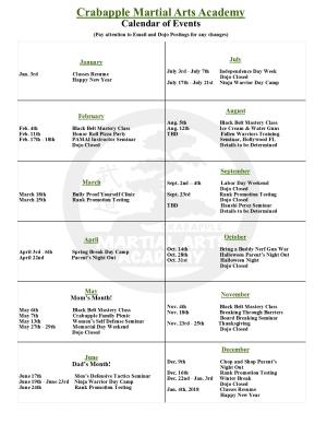 Kids Martial Arts in Alpharetta - Crabapple Martial Arts Academy - 2017 Calendar of Events