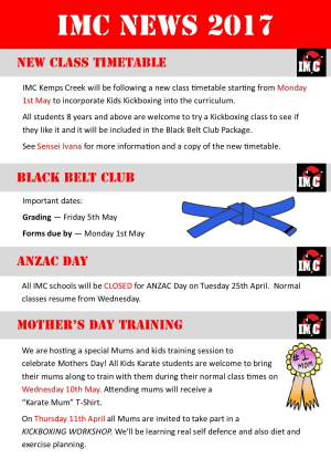 Kids Martial Arts in St Clair, Kemps Creek & Hoxton Park - International Martial Arts Centres - IMC News 22nd April 2017