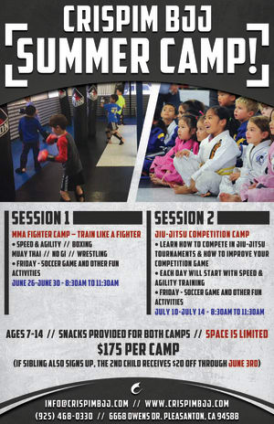 Kids Martial Arts in 	 Pleasanton - Crispim BJJ & MMA - A Few Spots Left in Our Kids Summer Camp!