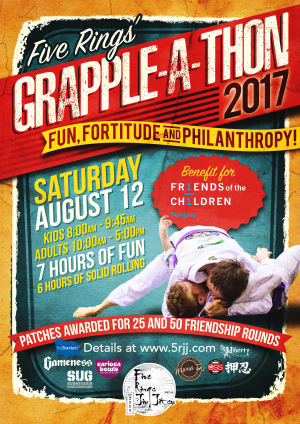 Kids Martial Arts in Portland and Beaverton - Five Rings Jiu Jitsu - 2nd Annual Grapple-a-Thon: Saturday, August 12, 2017
