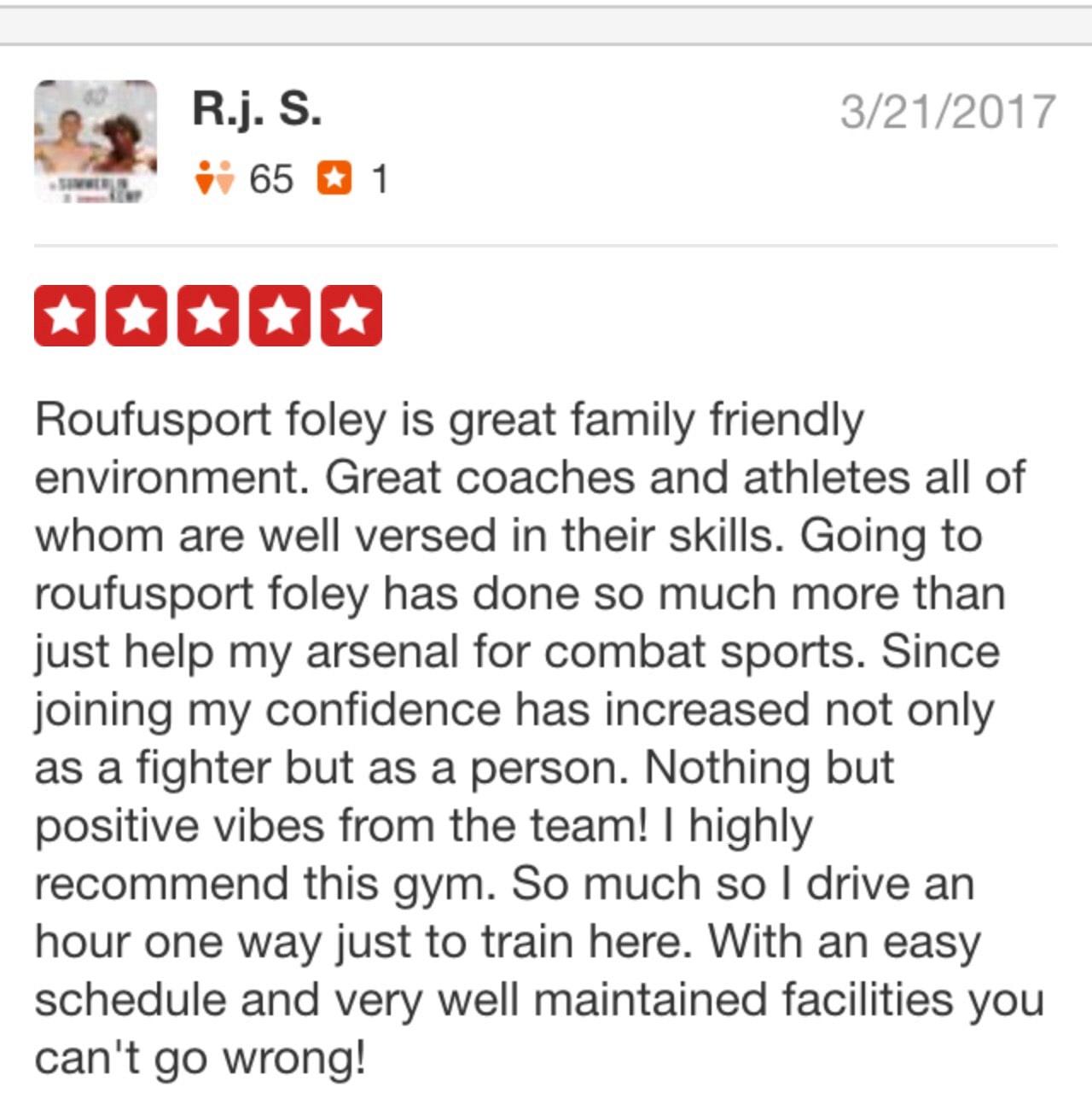 RJ, Roufusport Martial Arts Foley testimonials