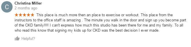 Christina Miller, CKD Martial Arts Of Kennesaw Testimonials