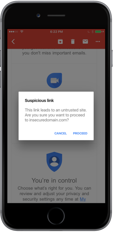 Anti-pishing check in Gmail for iOS