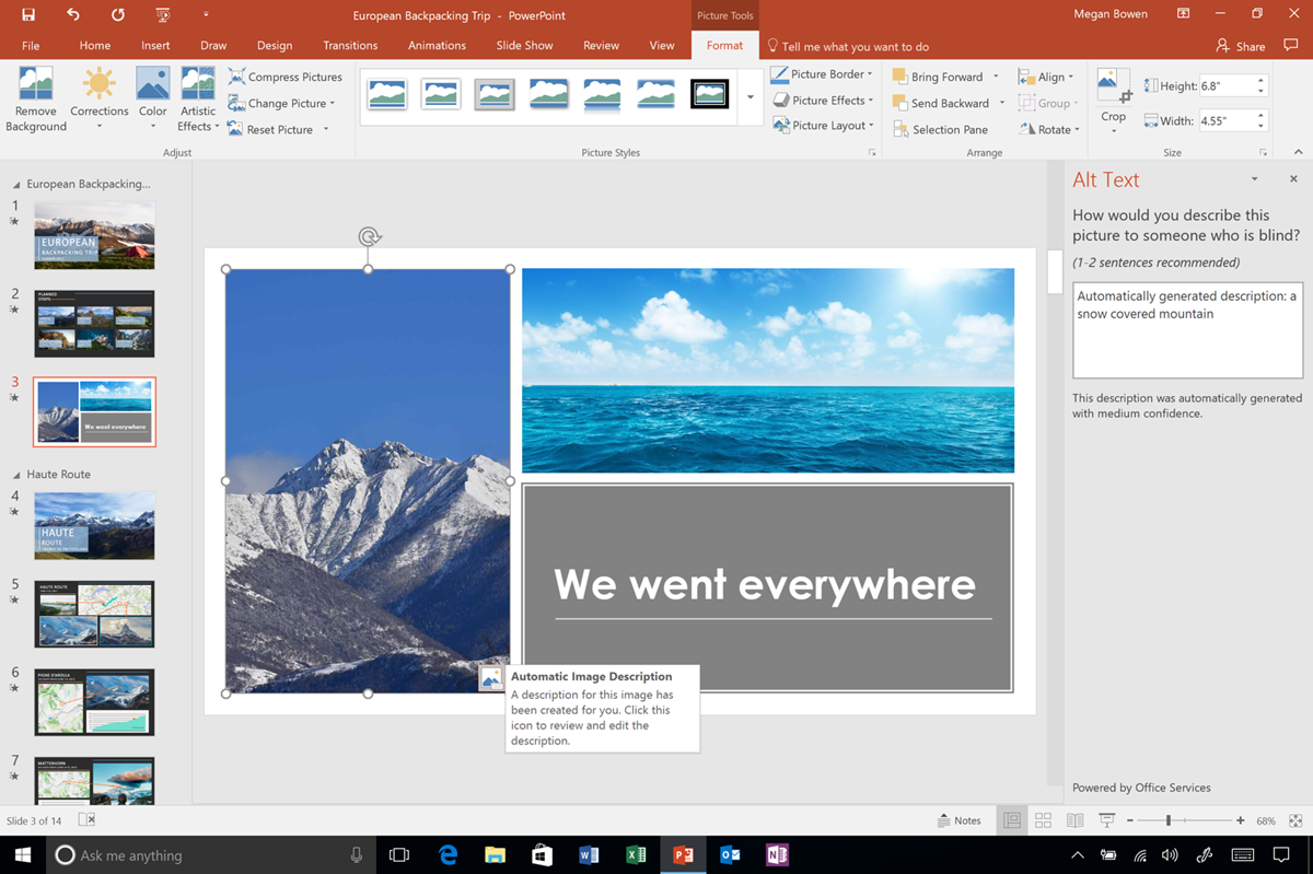 Office 365: automatic alt-text suggestions